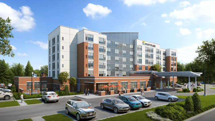 An illustration of the under-construction Hyatt Place in Mundy Township.
