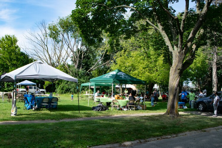 Robert Logan's property looks like a proper park when the Brownell-Holmes Neighborhood Association hosts its monthly picnics.