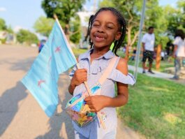 """(My flag means) fun, family, and love."" —Malaya Gilbert, 5."