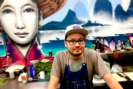 Tony Vu—chef, entrepreneur, musician, Flint booster—stands at the MaMang counter.
