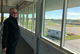Craig Hoff, dean of the College of Engineering, overlooks the proving grounds from the Harris Mobility Research Center.
