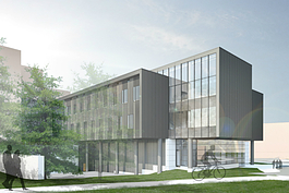 An artist rendering of the new 65,000-square-foot addition to the Murchie Science Building on UM-Flint's campus.