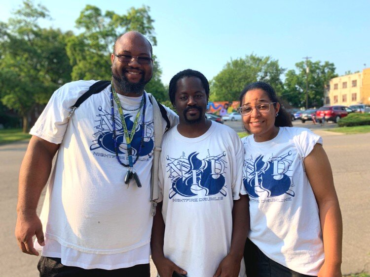 """We were just talking about how this was one of the most enthusiastic crowds we've had all year. So when the crowd loves it, we love it,"" said Michael Wilson (middle) of Nighfire Drumline with Clarence Ruffin (left) and Kayla Wilson."