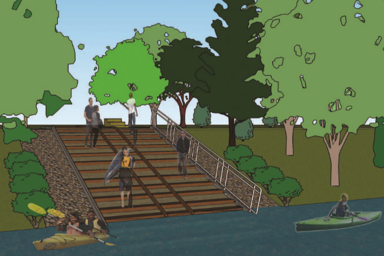 An artists rendering of the proposed Paddlers' Landing at Mott Park.