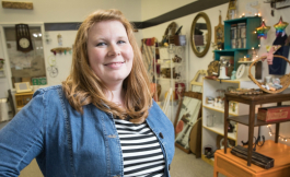 Michelle Cardillo owns Peace Barn vintage shop in downtown Flint.