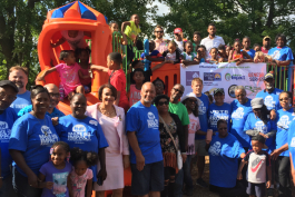 Volunteers helped a new playground open Tuesday at Hasselbring Senior Center. About 80 percent of the $150,000 funding comes from the Flint Child Health and Development Fund (often called FlintKids.org) and the Community Foundation of Greater Flint.
