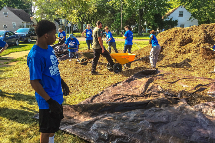 Tayvon Tilley is an AmeriCorps worker who volunteered at the playground build Tuesday.