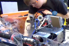 Ian Wickham, 15, works on Big Mo team 314's robot.