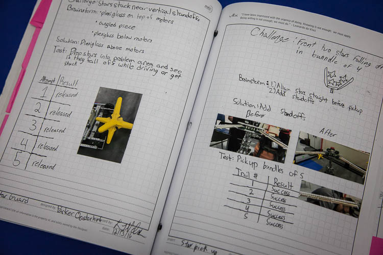 Team members must keep a Robotics Engineering Notebook as part of the competition.