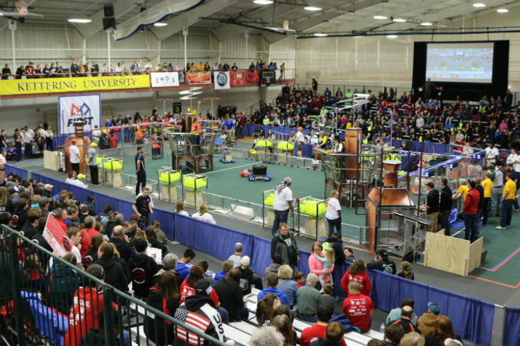 Thousands of people flock to Kettering University during the FIRST Robotics district competitions and kick-off events. Kettering has hosted districts for 18 consecutive years.