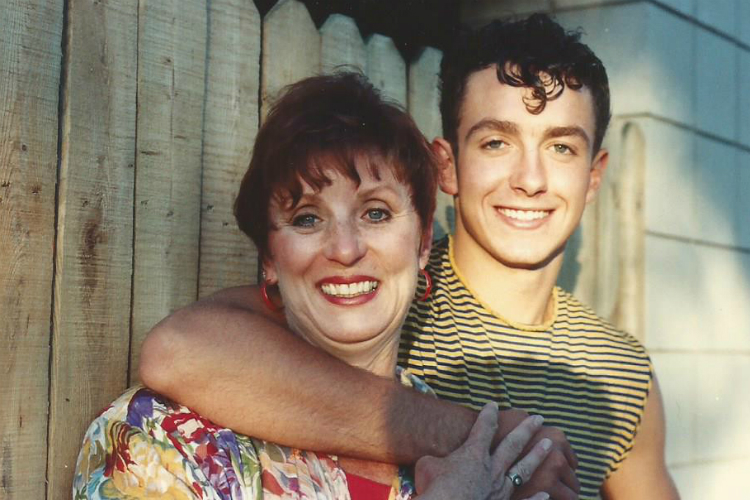 "Sandra Brewer and her son, Don Brewer, on the set of ""Oklahoma!"" at the Clio Amphitheater in 1990."