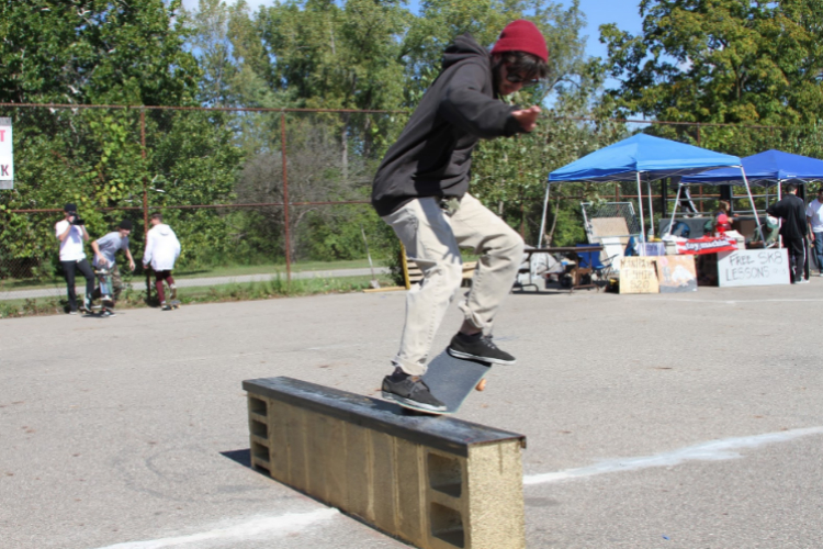 Jamie Converso from Flint grinds the rail during the Flint Skatepark benefit last month.