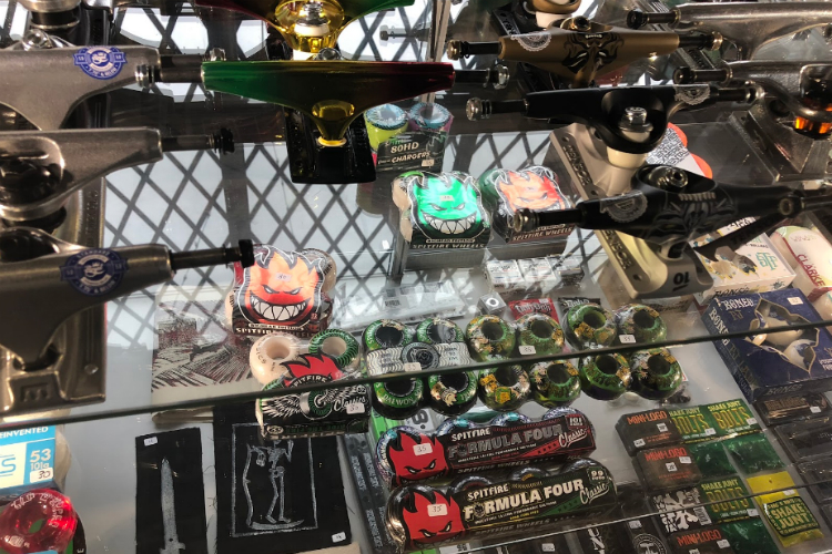 The gear on display at Brush Alley Skateshop, which opened just over a year ago.