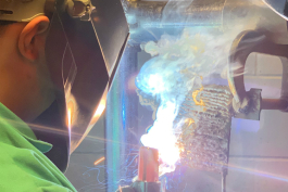 A student learns welding at the Genesee Intermediate School District.