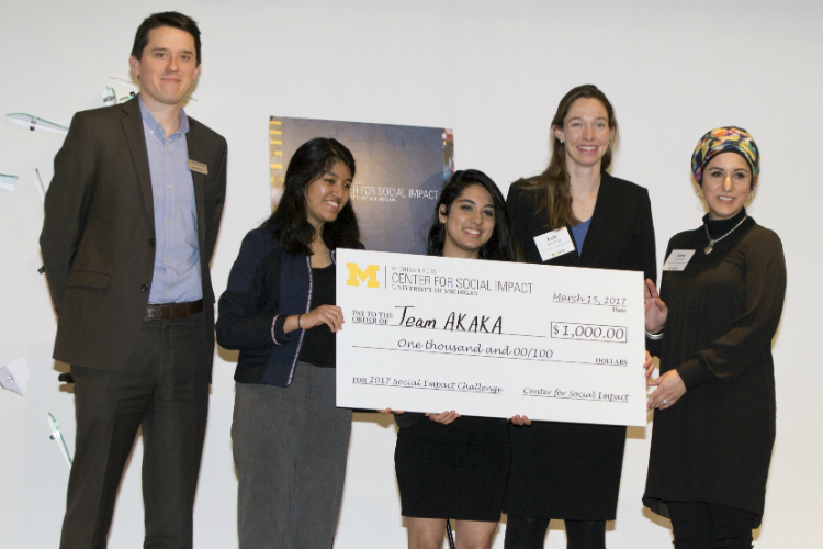 Team A.K.A.K.A. won the $1,000 second prize, $250 co-campus prize, and $250 arts focus prize. The team included Kate Blessing, Aisha Changezi (UM-Flint), Ashlyee Freeman, Ashrita Shetty, and Karen Cuenca.