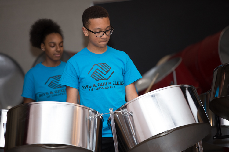 The Boys and Girls Club of Flint started its steel drum band in 2012.
