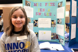 Ten-year-old innovator Jenna Swales of Dieck Elementary took inspiration from seeing a need to filter water at home and at school, creating an adjustable, adaptable filter for the Young Innovators Fair at Kettering University.