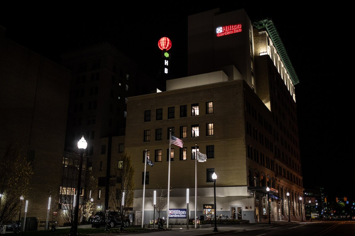 A look at Flint's Hilton Garden Inn with the lights on. The new hotel downtown Flint opened this week.