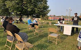 Facilitators leading a Vent discussion in Whaley Park in September.
