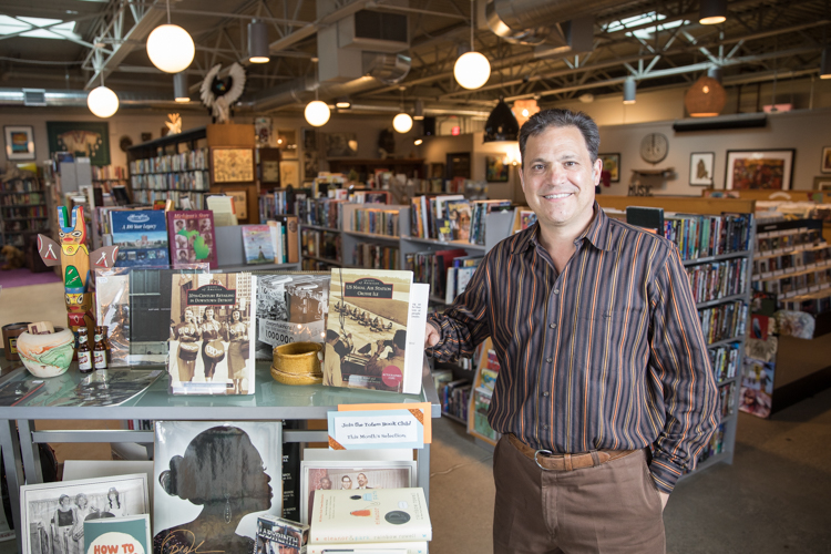 Flint attorney Dean Yeotis opened Totem Books about a year and a half ago into a vacant former liquor store—tranforming it into a new home for weathered arts and symbol of neighborhood investment.