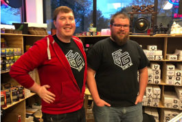 Tyler Bienlein (left) and Scott Hempel opened Great Escape Gaming in October.
