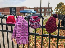Flint Handmade volunteers made and donated more than 500 hats, scarves, and gloves at locations around the city in December.