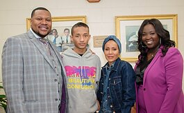 Pastor Ezra Tillman Jr. and Catrina Tillman with Jayden Smith and Jada Pinkett-Smith.