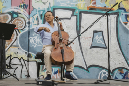 Yo-Yo Ma performs during a Day of Action in Leipzig, Germany.